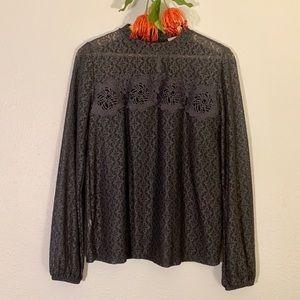 [ LOFT ] Grey Lace Blouse